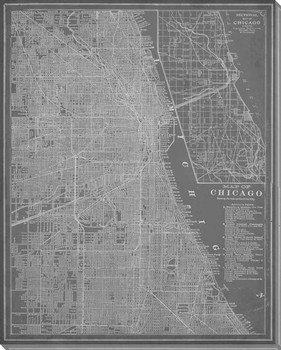 City Map of Chicago Wrapped Canvas Giclee Print Wall Art