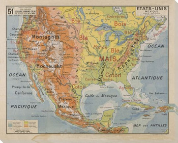 Etats-Unis Map of North America Wrapped Canvas Giclee Print