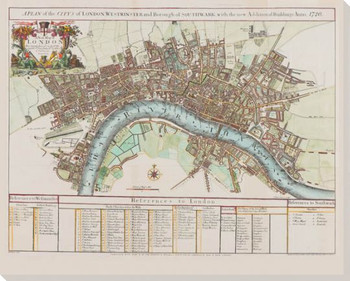 References To London Map Wrapped Canvas Giclee Print Wall Art