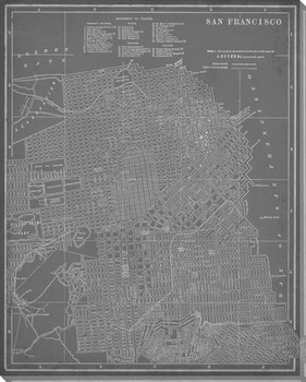 City Map of San Francisco Wrapped Canvas Giclee Print Wall Art