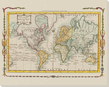 New & Complete Mercator Chart of the World Map Canvas Giclee Art Print