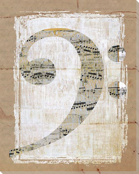 Bass Clef Wrapped Canvas Giclee Print Wall Art