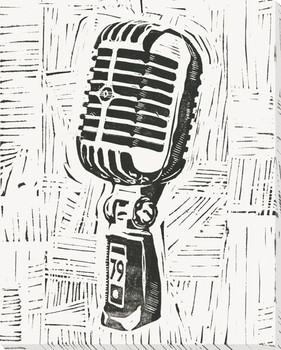 Rock & Roll Microphone Wrapped Canvas Giclee Print Wall Art