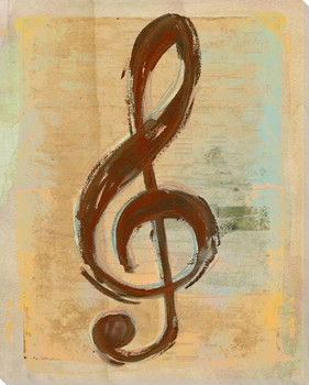 Musical Symbol Treble Clef Wrapped Canvas Giclee Print Wall Art