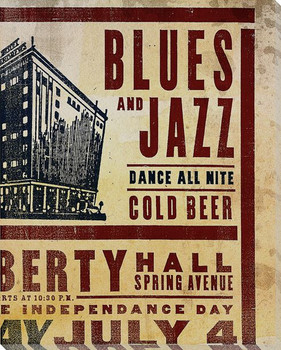 Dance All Nite Blues and Jazz Wrapped Canvas Giclee Print Wall Art