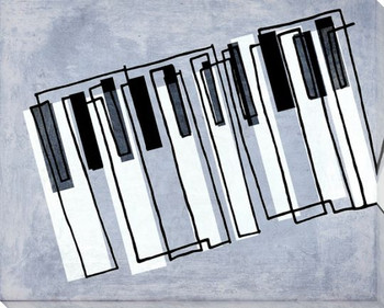 Linear Improvisation Piano Keys Wrapped Canvas Giclee Print Wall Art