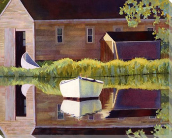 Boathouse Wrapped Canvas Giclee Print Wall Art