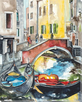 Venice Boats 5 Wrapped Canvas Giclee Print Wall Art