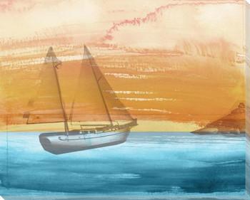 Coastal Sailboat Wrapped Canvas Giclee Print Wall Art