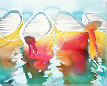 Rainbow Thai Boats Wrapped Canvas Giclee Print Wall Art