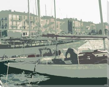 Bimini Bay Boats II Wrapped Canvas Giclee Print Wall Art