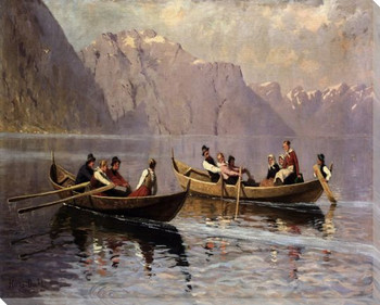 Boating at Balestrand Wrapped Canvas Giclee Print Wall Art