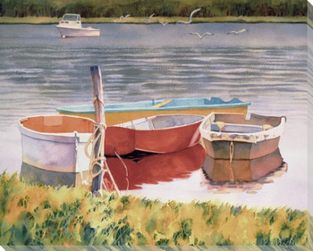 Lakeside Morning Boats Wrapped Canvas Giclee Print Wall Art