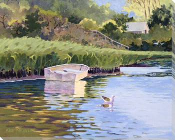 Skiffs Boat Along the Cove Shore Wrapped Canvas Giclee Print