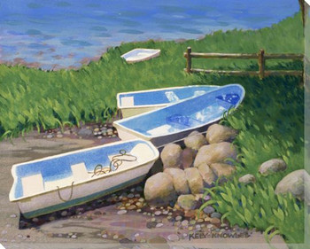 Skiffs Boats in the Shade Wrapped Canvas Giclee Print Wall Art