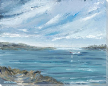Before the Rain Boat on a Ocean Scene Wrapped Canvas Giclee Art Print