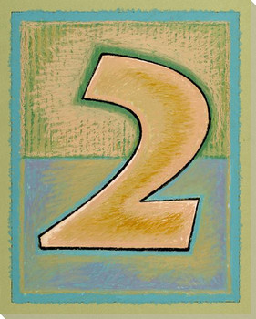 Block Number 2 Wrapped Canvas Giclee Print Wall Art