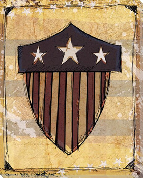 American Shield Wrapped Canvas Giclee Print Wall Art