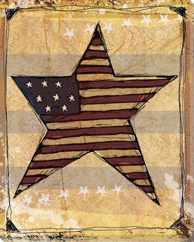 American Star with Flag Wrapped Canvas Giclee Print Wall Art