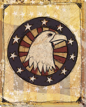 American Eagle with Stars Wrapped Canvas Giclee Print Wall Art