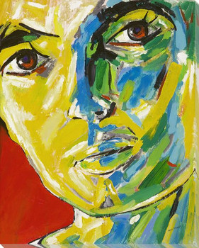 Portrait in Yellow Wrapped Canvas Giclee Print Wall Art