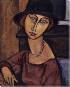 Modigliani Study with Black Hat Wrapped Canvas Giclee Print