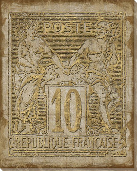 Poste Francaise Light Quatre Stamp Wrapped Canvas Giclee Print