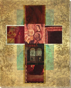 Mosaic Crosses 1 Wrapped Canvas Giclee Print Wall Art