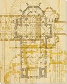 First Church Plan Wrapped Canvas Giclee Print Wall Art