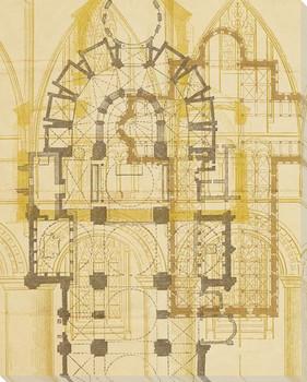 Fourth Church Plan Wrapped Canvas Giclee Print Wall Art