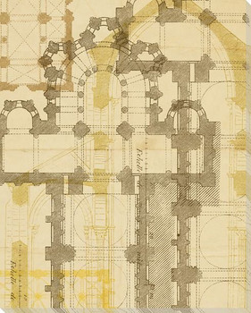 Second Church Plan Wrapped Canvas Giclee Print Wall Art