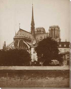 Classic Back View of Notre Dame Cathedral Wrapped Canvas Print