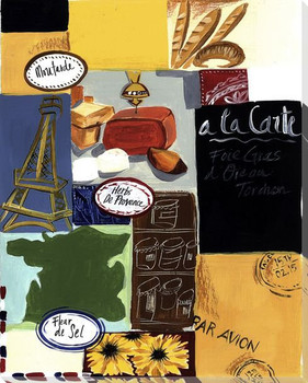 French Collage Wrapped Canvas Giclee Print Wall Art