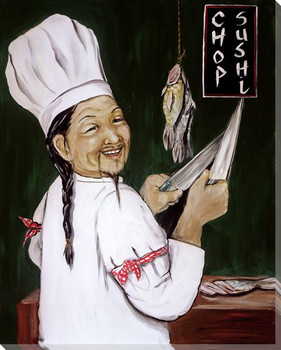 Chop Sushi Chef Wrapped Canvas Giclee Print Wall Art