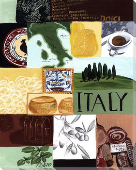 Italian Collage Wrapped Canvas Giclee Print Wall Art