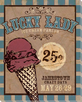 Lucky Lady Ice Cream Wrapped Canvas Giclee Print Wall Art
