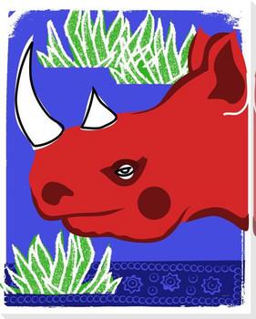 Safari Rhino Wrapped Canvas Giclee Print Wall Art