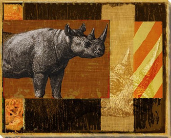 Rhino Collage Wrapped Canvas Giclee Print Wall Art