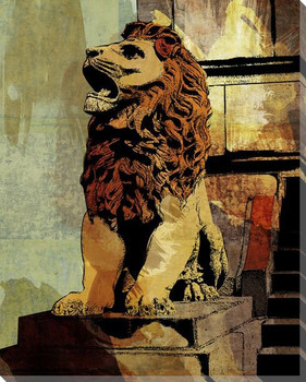 Loop Seated Lion Wrapped Canvas Giclee Print Wall Art