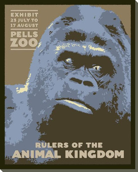 Gorilla Zoo Poster Wrapped Canvas Giclee Print Wall Art