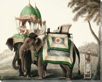 Majestic Elephants Wrapped Canvas Giclee Print Wall Art