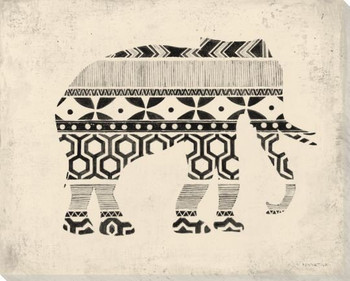 Patterned Elephant Wrapped Canvas Giclee Print Wall Art