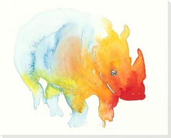 Colorful Rhino Wrapped Canvas Giclee Art Print Wall Art
