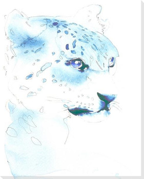 A White Leopard Wrapped Canvas Giclee Art Print Wall Art
