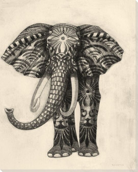 Embroidered Elephant Wrapped Canvas Giclee Print Wall Art