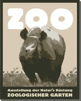 Rhinoceros Zoo Poster Wrapped Canvas Giclee Print Wall Art