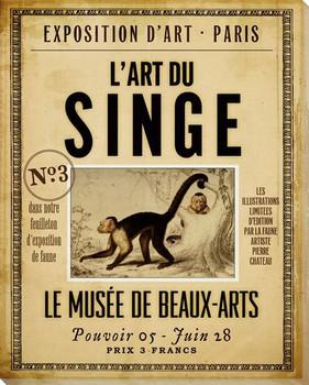 L' ART DU Singe Monkey Wrapped Canvas Giclee Print Wall Art