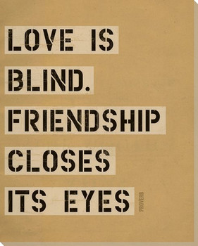 Love is Blind... Saying Wrapped Canvas Giclee Print Wall Art