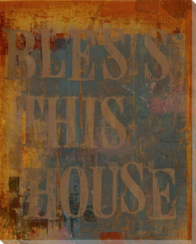 """Urban """"Bless This House"""" Wrapped Canvas Giclee Print Wall Art"""
