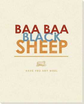 Baa Baa Black Sheep... Saying Wrapped Canvas Giclee Print Wall Art